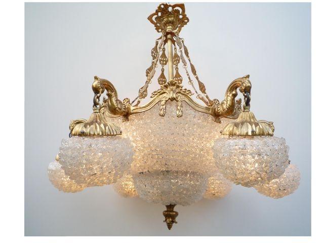 Lustre en verre blanc lustre de salon lustre monte for Lustre salon pas cher