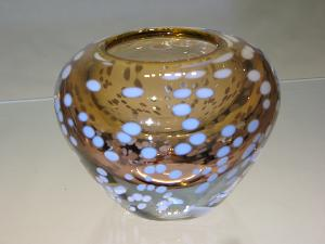 Petit vase Murano ambre taches blanches