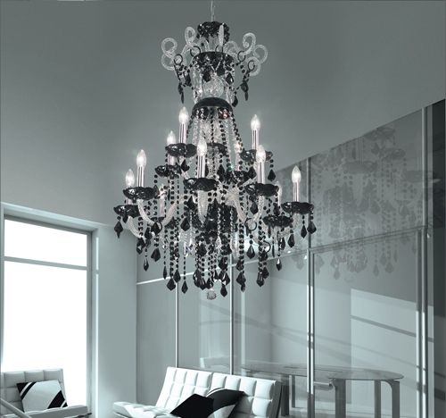 lustre cristal dream noir luminaire salon cristal chandelier cristal voltolina dream noir. Black Bedroom Furniture Sets. Home Design Ideas