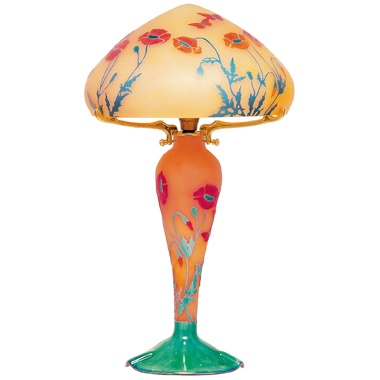 lampe la rochere lampe en pate de verre lampe coquelicot. Black Bedroom Furniture Sets. Home Design Ideas
