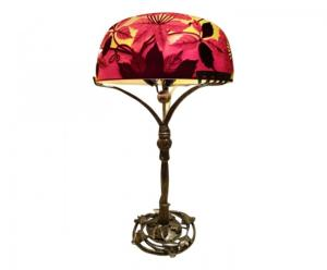 "Lampe "" Ombelles"" reproduction Gallé pied en bronze Majorelle"