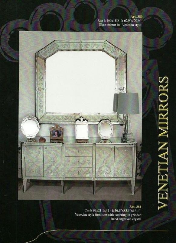 Buffet salle a manger verre murano meuble verre venise for Miroir venitien murano