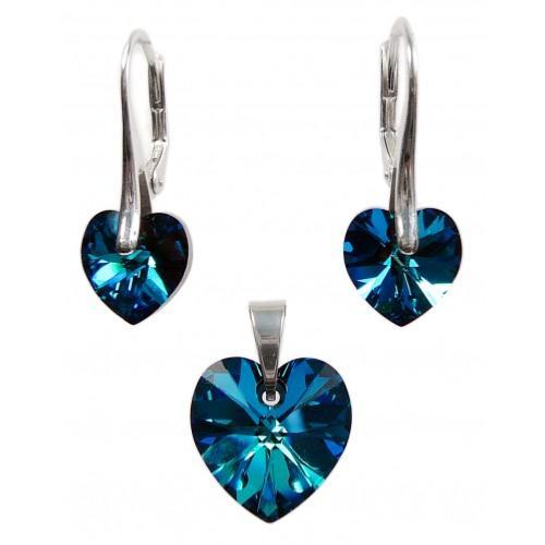 Parure Pendentif Boucles Cristal Swarovski Coeur Bleu xilion Chaine Argent  925