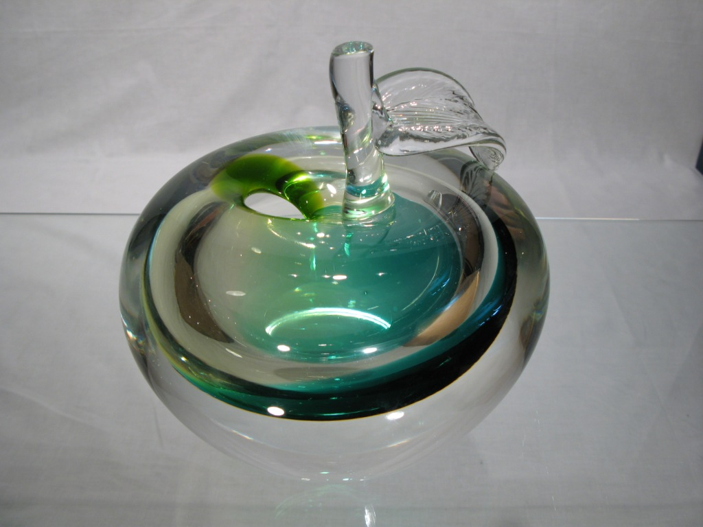 vase murano rond vase murano soliflore vase cristal pomme verte. Black Bedroom Furniture Sets. Home Design Ideas