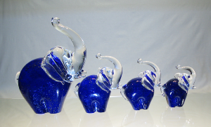 Eléphant collection Murano Bleu or ( 4 tailles )