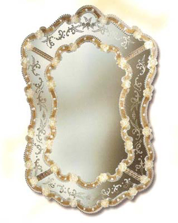Mirroir venitien ovale fleur cristal art deco mirroir for Miroir venitien