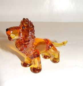 Lion miniature en cristal couleur