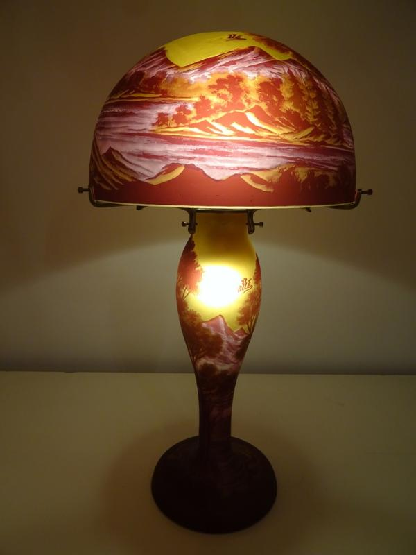 Lampe Tip Galle Bordeau Lampe Pate De Verre Montagne Lampe Tip