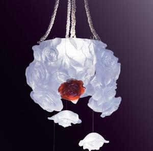 Suspension Rose Passion Blanche et Rouge Daum