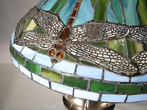 Lampe Libellules Dragonfly vitrail américain Tiffany  Pied en bronze