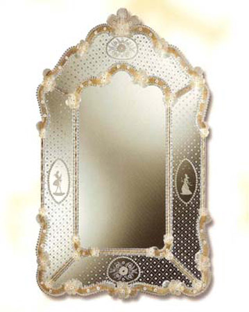 Mirroir venitien rectangulaire cristal art deco for Miroir venitien murano