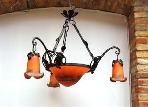 Lustre, Suspension Art Nouveau coupolle tip muller