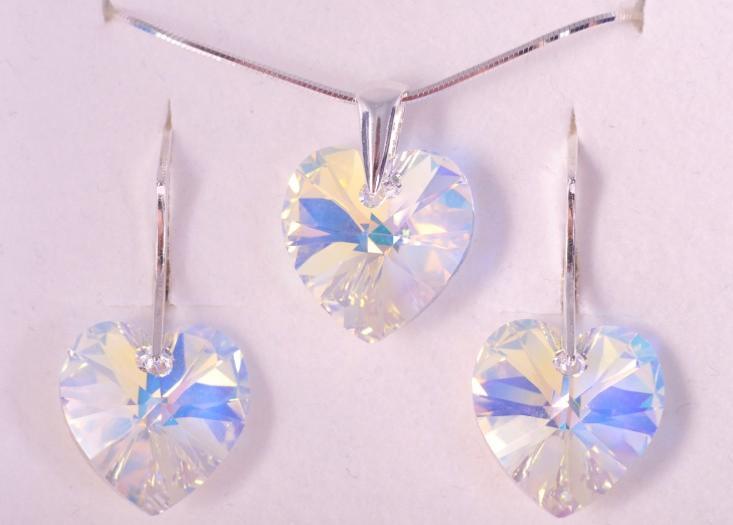 Parure Pendentif Boucles Cristal Swarovski Coeur AB cristal monture Argent  925