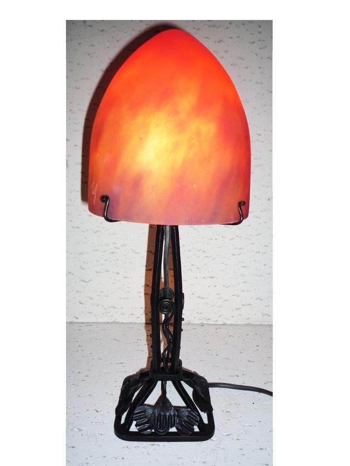 Lampe Art Nouveau Carre Pied Fer Forge Lampe Pate De Verre