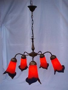 Lustre, Suspension Art Nouveau 5 Tulipes rouge