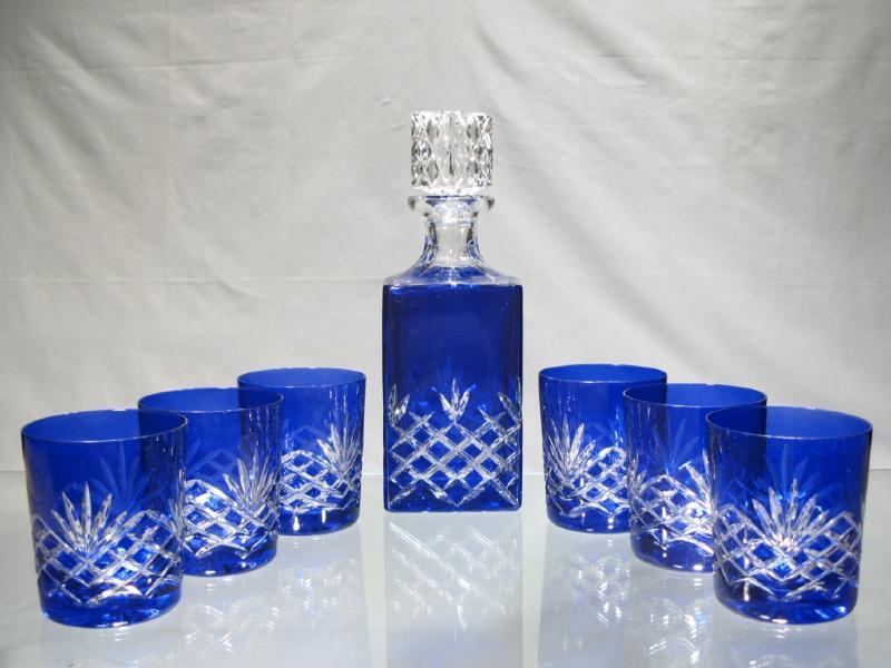 coffret whisky cristal bleu service whisky cristal. Black Bedroom Furniture Sets. Home Design Ideas