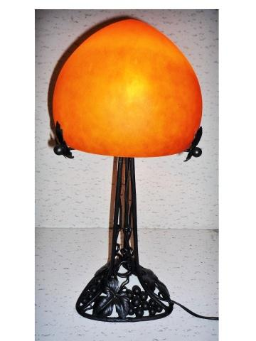 lampe art nouveau orange lampe fer forge vigne lampe pate de verre orange. Black Bedroom Furniture Sets. Home Design Ideas