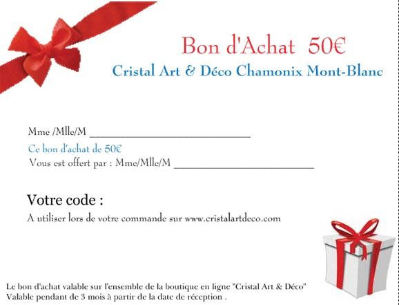 bon achat 50 euros cadeau en cristal bon achat 50 euros. Black Bedroom Furniture Sets. Home Design Ideas
