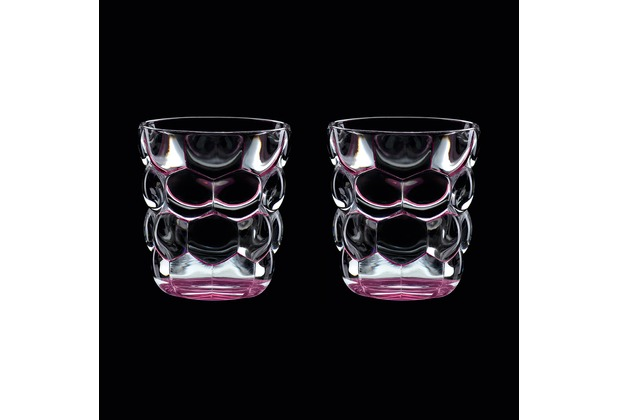 Verres à eau multi-usage Bubbles Rose en cristallin ( lot de 2 )