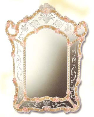 Mirroir venitien decor fleur cristal art deco mirroir for Miroir venitien murano
