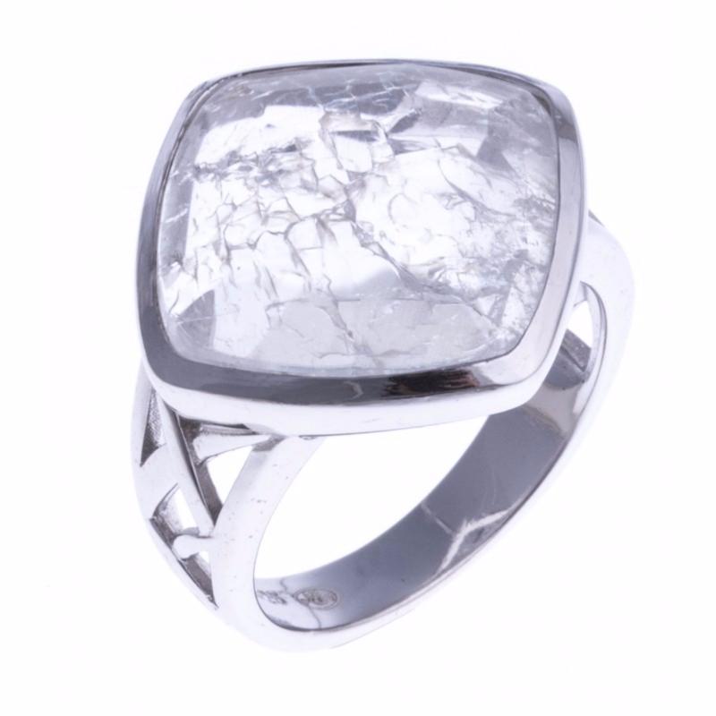 Bague Cristal de Roche Quartz argent 925 rhodié