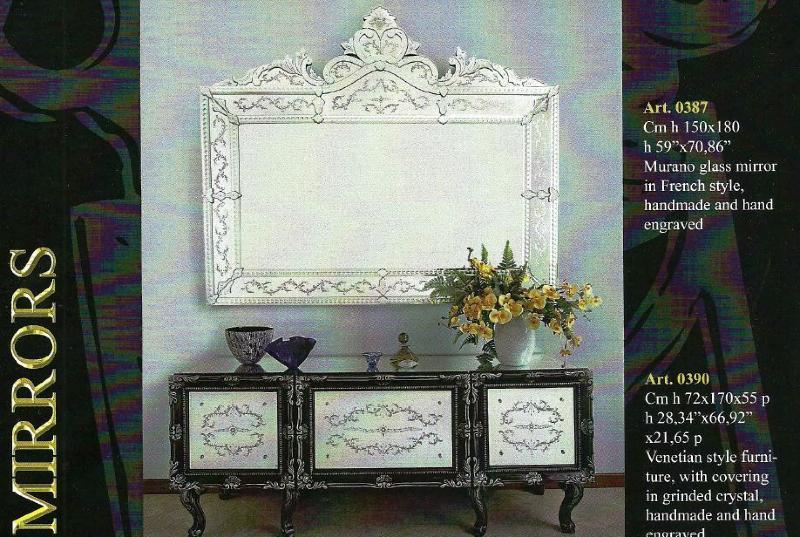 Buffet salon verre murano meuble en verre de venise for Miroir pour buffet