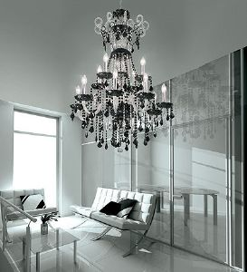 Lustre Chandelier Cristal Murano Voltolina Collection Dream Noir et transparent