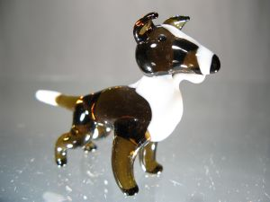 Bull Terrier White-Brown Crystal Miniature