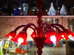 Lustre Murano Voltolina collection Laguna Rouge ( Bras vers le bas )