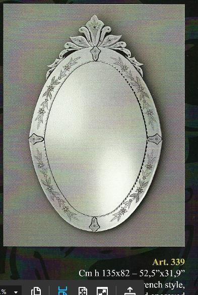 Miroir venitien long ovale miroir verre venise miroir for Miroir venitien murano
