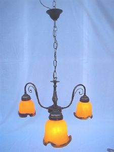Lustre, Suspension Art Nouveau 3 tulipes ocre bleu