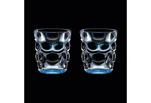 Verres à eau multi-usage Bubbles Bleu en cristallin ( lot de 2 )