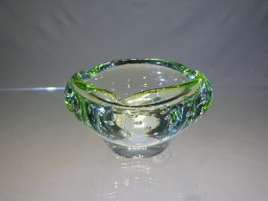 Cendrier Verre Murano Massif Transparent filet vert citron