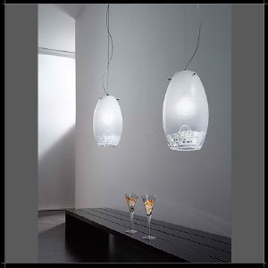 Luminaire Ovale Blanc Lait Murano Voltolina collection Reflex