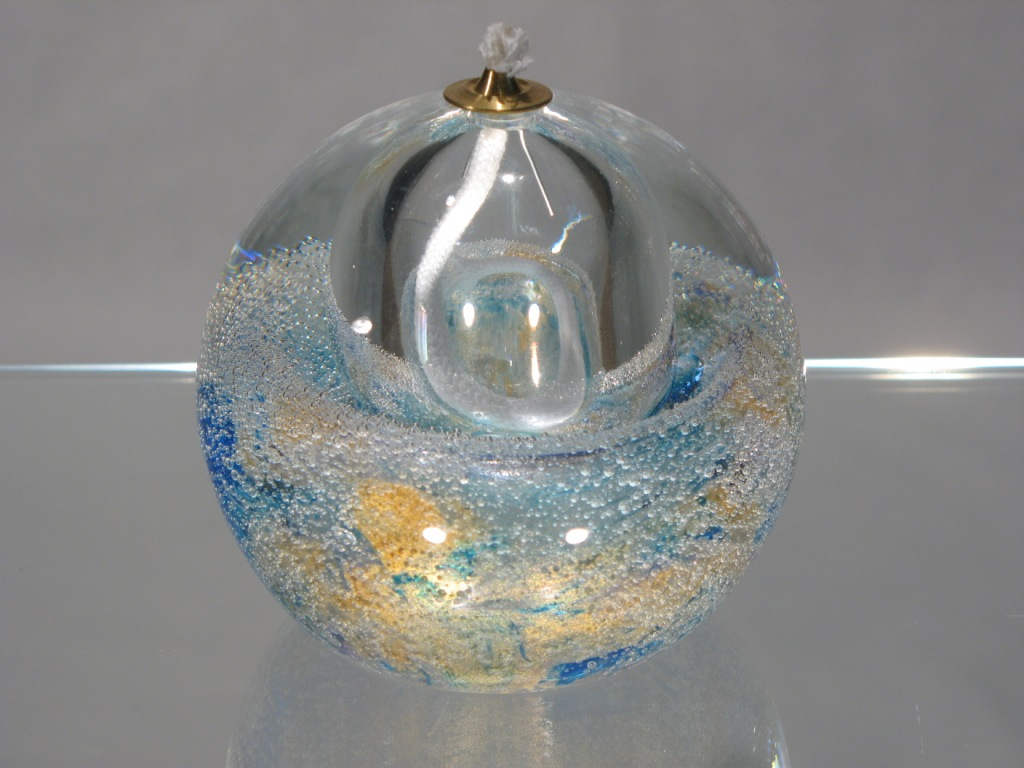 Lampe a huile bleu or verre murano lampe a huile bleu doree