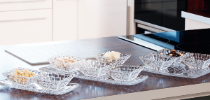 Plateau Aperitif Dinatoire Design collection Bossa Nova en cristal 3 pieces