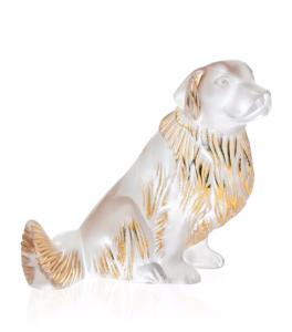 Golden Retriever Cristal Lalique lustré or ou tamponné or