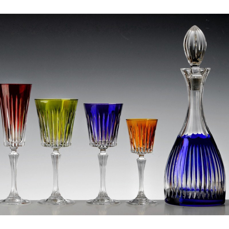 Cristal de Paris : Coffret 6 verres cristal couleur collection timeless